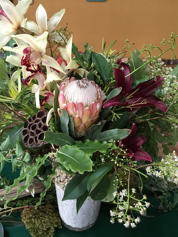protea, orchids and and textures by Gorgeous and Green