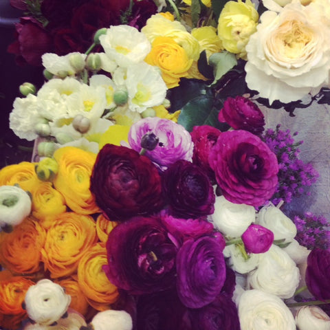 local organic ranunculus and local grown garden roses and peonies