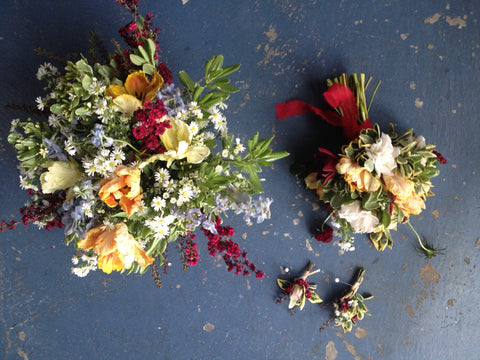 The flowers by Gorgeous and Green on our studio floor
