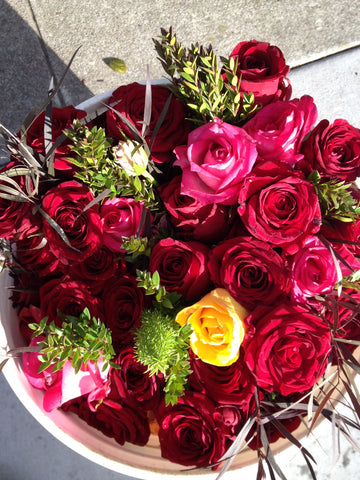 roses for local seniors at a senior home