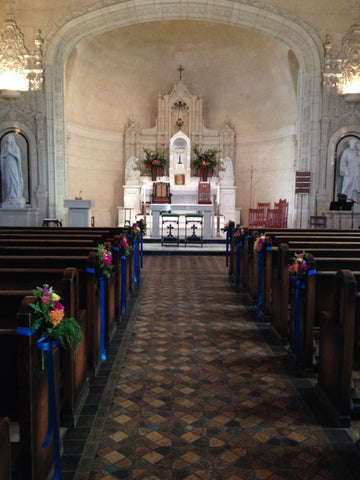 The aisle and inside of the chapel at St Vincent's School for Boys in San Rafael