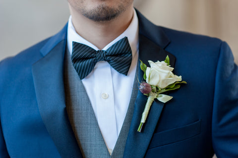 simple white boutonniere for a blue suit, City Hall wedding by Gorgeous and Green