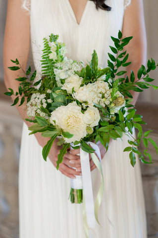 bridal bouquet, simple white and green for SF City Hall Wedding by Gorgeous and Green