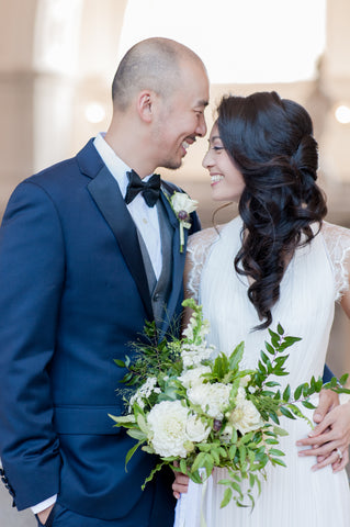 Bride and Groom SF City Hall Wedding, florals by Gorgeous and Green