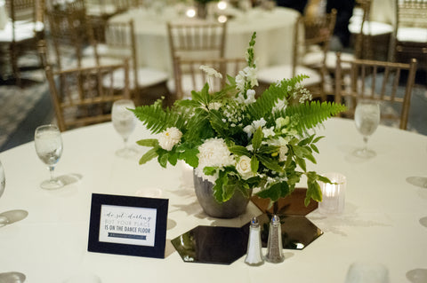 Simple white and green centerpiece by Gorgeous and green at the Sir Francis Drake
