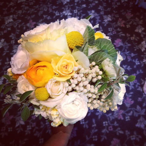 Bridal Bouquet featuring white texture, yellow peonies by Gorgeous and Green