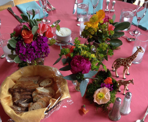 the giraffe table, local grown flower centerpiece by Gorgeous and Green