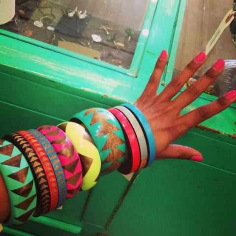 Voz collective bangles in the boutique Gorgeous and Green