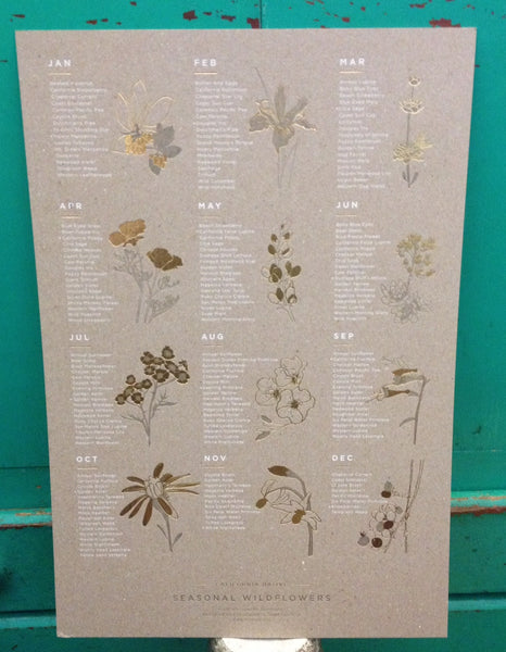 Wildflowers gold foil Seasonal Letterpress Monthly Calendar by Yac, available Next day