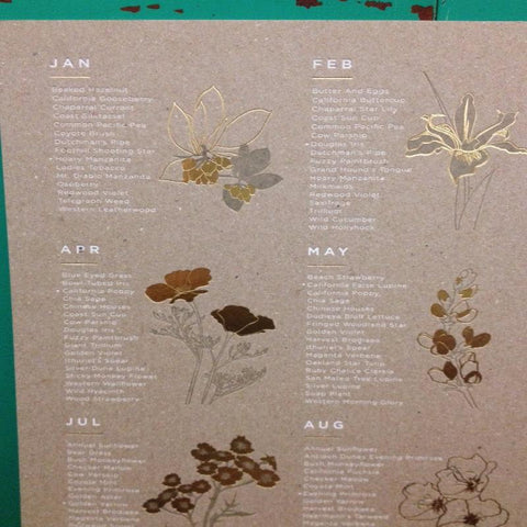 Wildflowers gold foil Seasonal Letterpress Monthly Calendar by Yac, available next day or later Mon-Fri