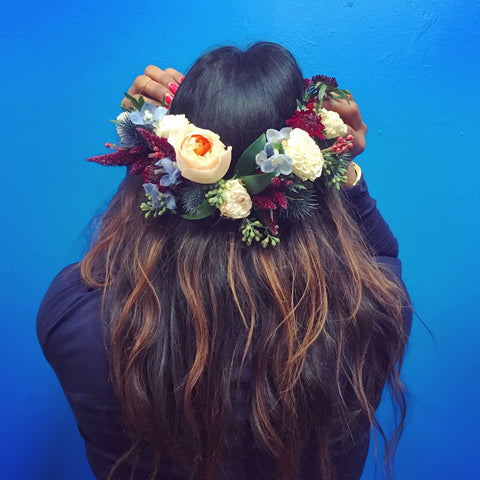 Flower Crown or Hair Piece, small event order ($400 minimum)