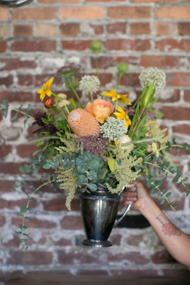 Ful Floral arrangement in a found vintage vessel by Gorgeous and Green, from a sustainable flower workshop