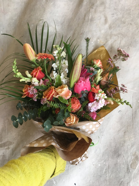 A bouquet of Local hand tied flowers, Next Day or Later Delivery M-F