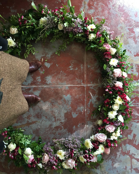 Garland of Blooms and Greens by the foot, small event order ($400 minimum)