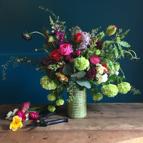 Local Grown Flowers in a vase, available Friday 12/4 only