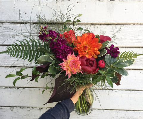 Local Grown Bouquet in a vase, available for Next Day Delivery M-F