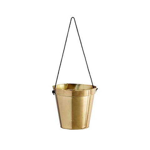 Madam Stoltz Hanging pot w/jute handle - Shiny Gold