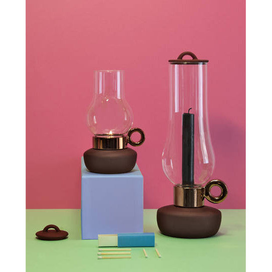 Seletti PORCELAIN AND GLASS CANDLE HOLDER - BRONZE