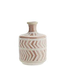 Madam Stoltz Tribal Design Vase - Dusky Rose/White