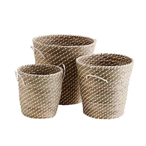 Straw Basket w/ White Strips