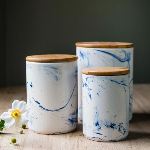 N.E.D Blue Vein Porcelain Canister  - Large