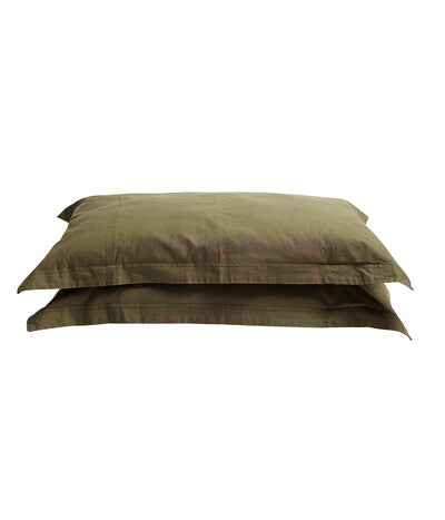 Pony Rider Khaki Organic Canvas Pillow Case Set (king)