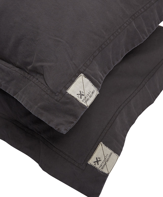 Pony Rider Organic Canvas Standard Pillowcase Set - Charcoal