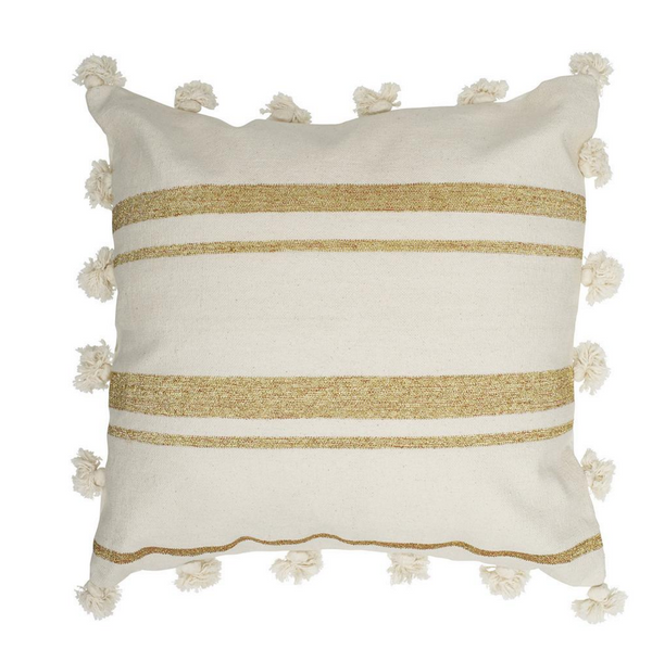 Langdon Gigi Cushion 60 x 60 - Natural/Gold Metallic