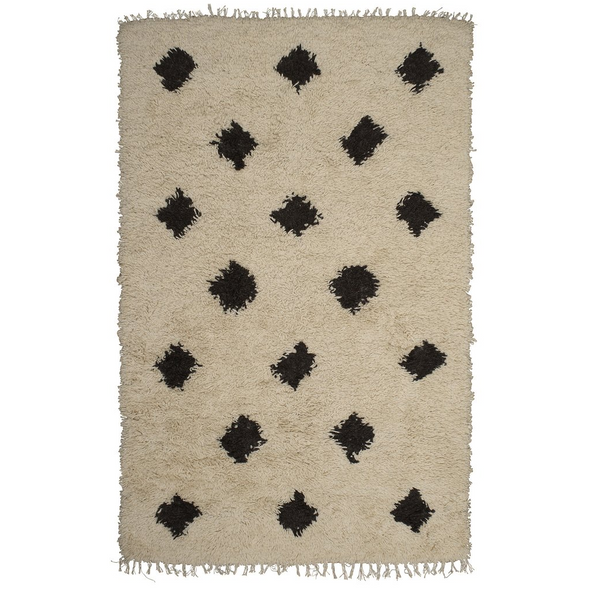 Langdon Black & White Diamond Shag Rug - 1.25 x 1.8m