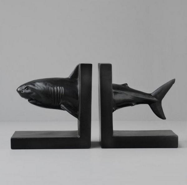 White Moose Shark Bookends - Black