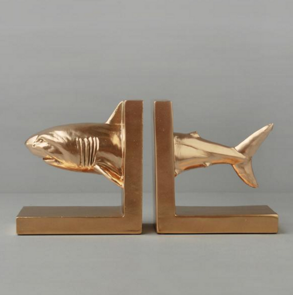 White Moose Shark Bookends - Gold