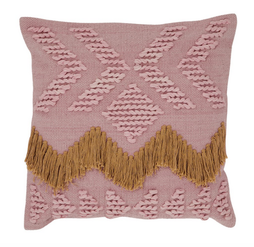 Langdon Fringe Cushion Blush with Tan Fringing - Cover Only