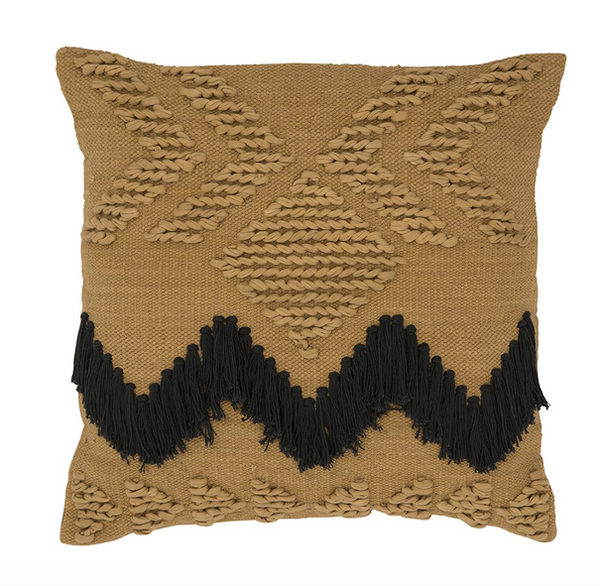 Langdon Fringe Cushion Tan with Black Fringing - Cover Only