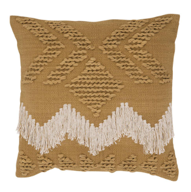Langdon Fringe Cushion Tan with White Fringing - Cover Only
