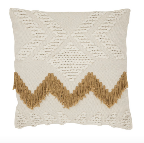 Langdon Fringe Cushion White with Tan Fringing - Cover Only