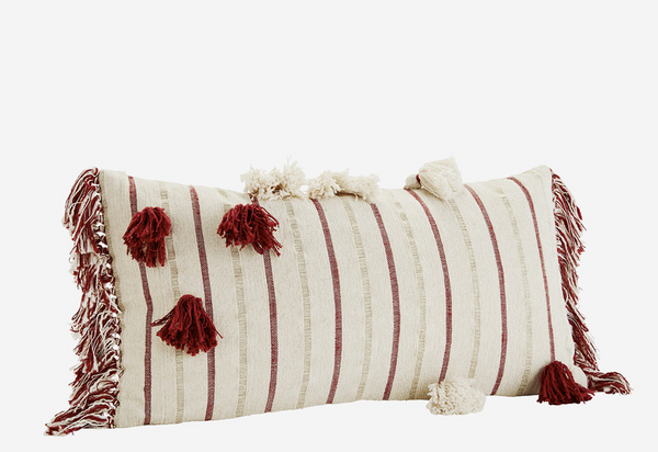 Madam Stoltz Chenille Cushion Cover - Off White/Paprika/Gold
