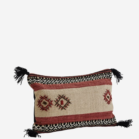 Madam Stoltz Cushion Cover With Tassels - Camel/Black/Paprika