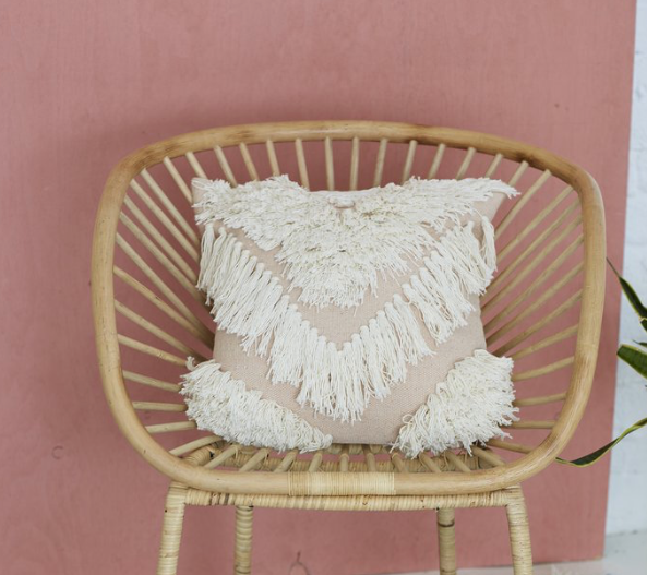 Langdon Tribe Cushion - White/Blush Cover Only