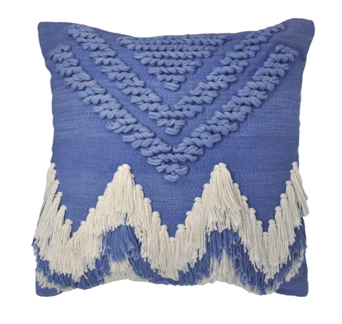 Langdon Fringe Cushion Indigo/White - Cover Only
