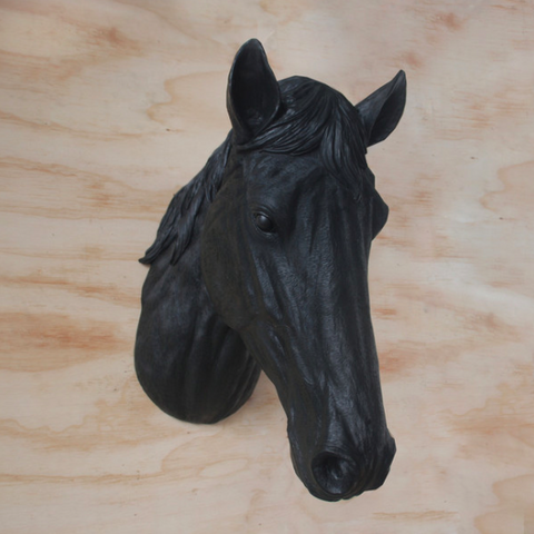 White Moose Resin Horse Head - Black
