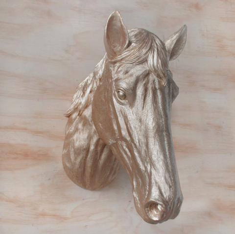 White Moose Resin Horse Head - Gold