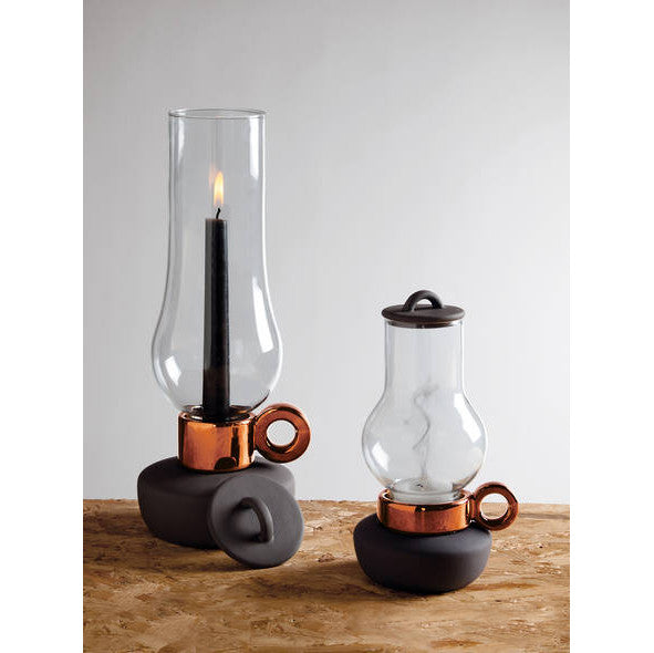 PORCELAIN AND GLASS CANDLE HOLDER - COPPER