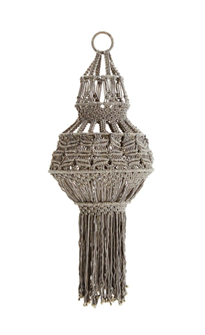 Madam Stoltz Macrame Knitted Lampshade - Grey
