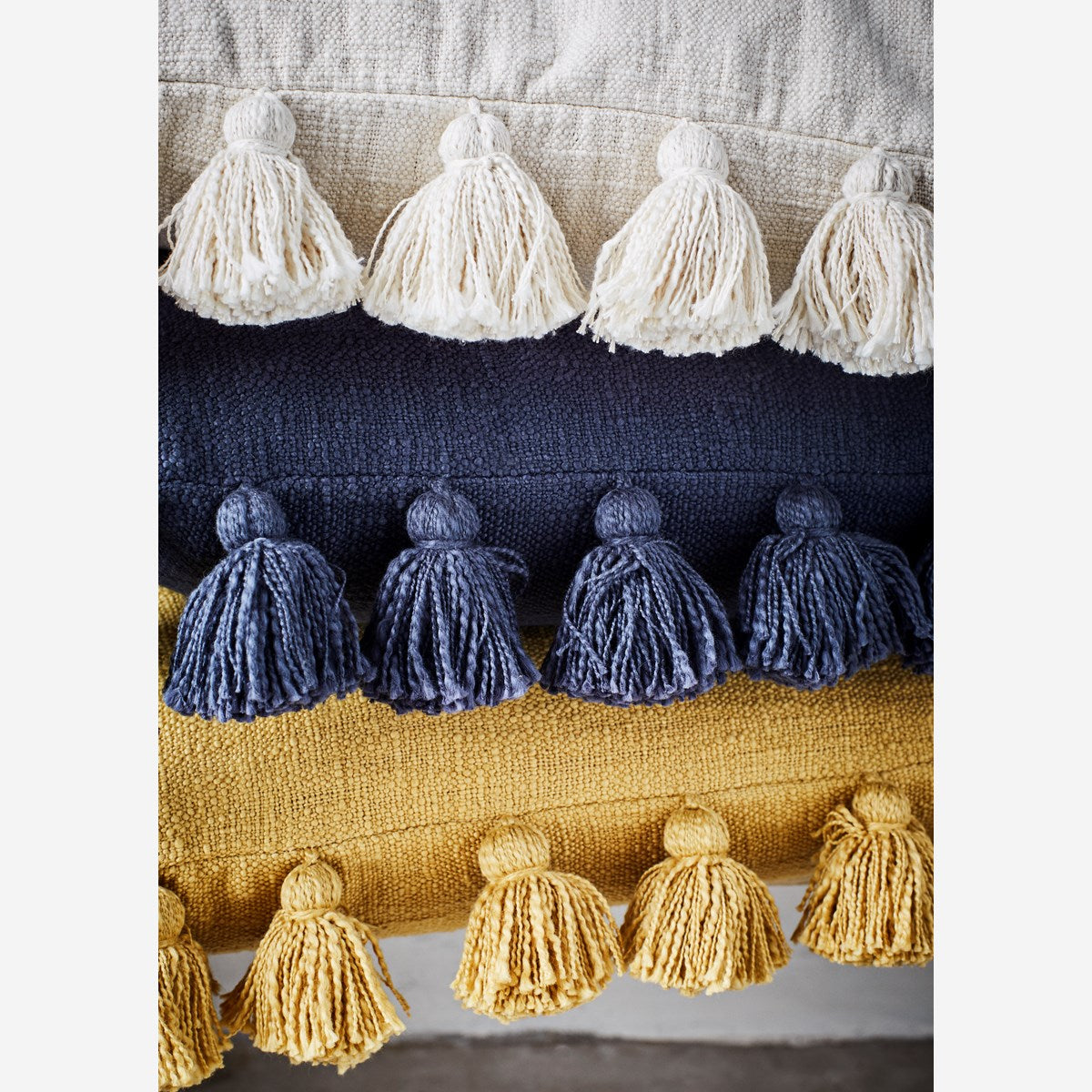 Madam Stoltz Cushion  Mustard with Tassels- cover only