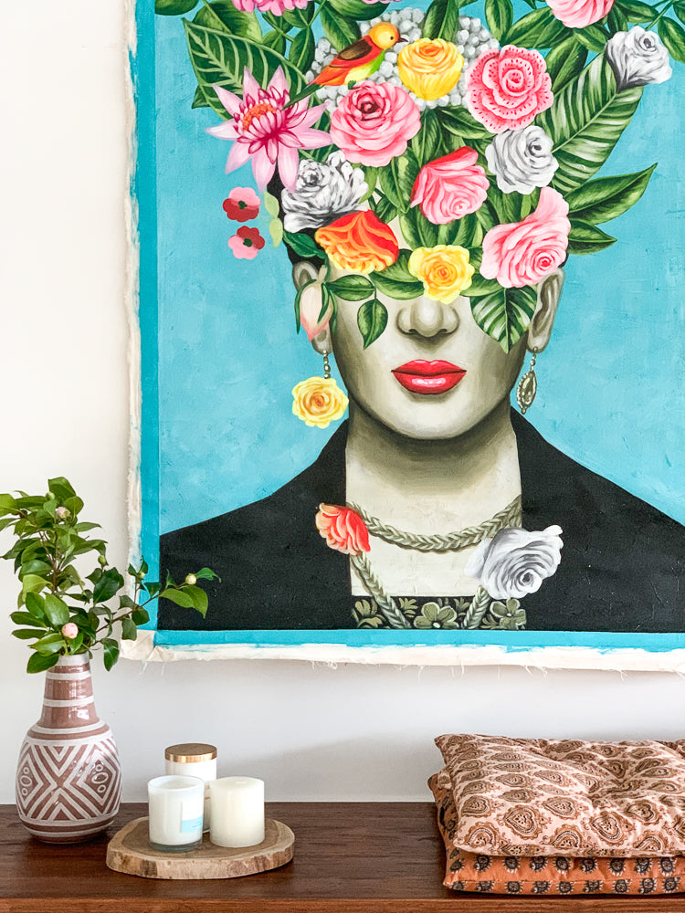 Frida Head In Flowers / Turquoise - Painting