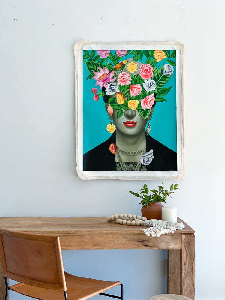 Frida Head Of Flowers / Emerald - Painting