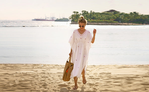 kaftan, adult kaftan, singapore resort wear, resort wear, baebeeboo, bae blush, white kaftan, cotton, give back, social conscious, india, made in india, Singapore, singaporean brand,  tunic, beach wear, caftan, social conscious, beach fashion