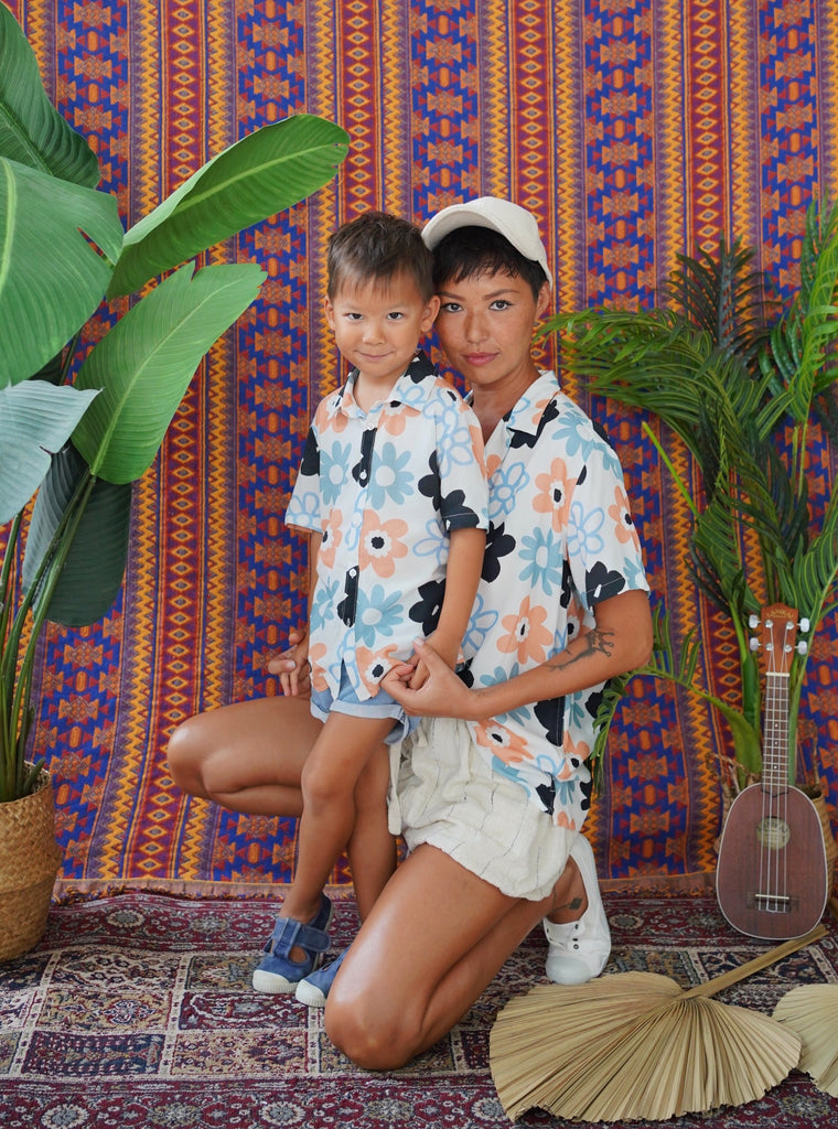 unisex, unisex fashion, Aloha, hawaiian shirt, daisy, daisy prints, digital print, rayon shirt, blue, japanese surfer, kidsshirt , twinning