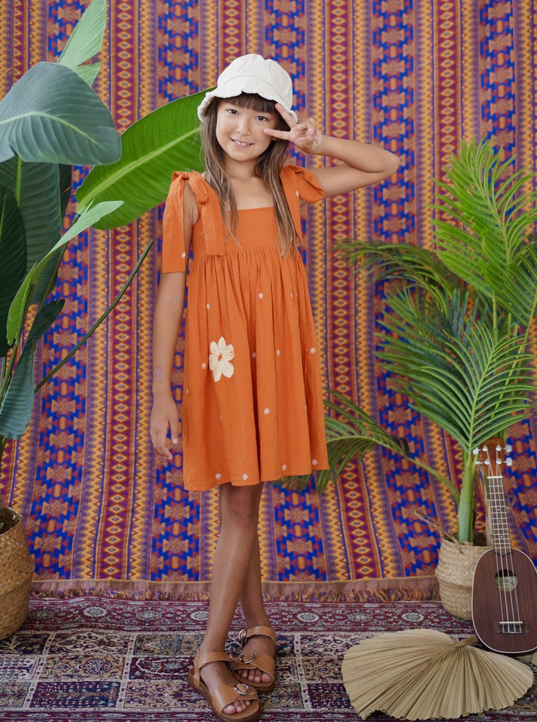 maxi dress, shopbaebeeboo, baebeeboo, local fashion, resort wear, resort dress, embroidery, orange, long dress, give back, made in india, kids fashion, kids dress, kids