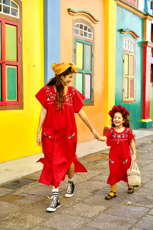 gabriela dress, Jamie-Lee, Kaftan, resort wear, mexican dress, red dress, adult fashion, embroidery, give back, made in india, hand sewn by women, beach dress, ethnic fashion, baebeeboo, shopbaebeeboo, twinning outfit, twinning set, mommy and daughter